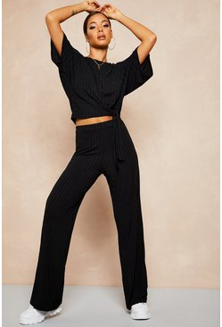 Womens Black Recycled Batwing Detail Top & Trouser Co-ord