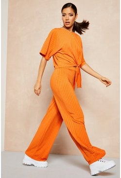 Burnt orange Recycled Batwing Detail Top & Trouser Co-ord