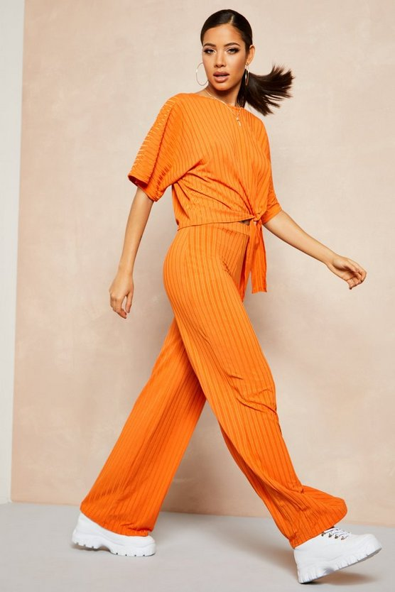 Womens Burnt orange Recycled Batwing Detail Top & Trouser Co-ord