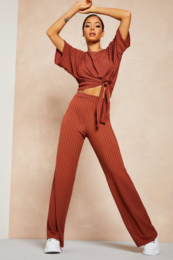 Womens Chocolate Recycled Batwing Detail Top & Trouser Co-ord