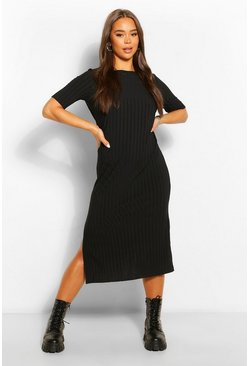Womens Black Recycled Rib Tunic Midi Dress