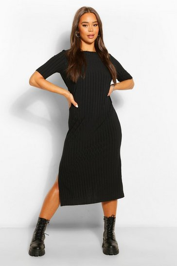 Black Recycled Rib Tunic Midi Dress