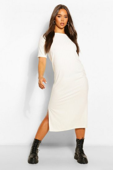 Womens Ecru Recycled Rib Tunic Midi Dress