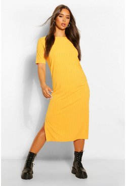 Womens Honey Recycled Rib Tunic Midi Dress