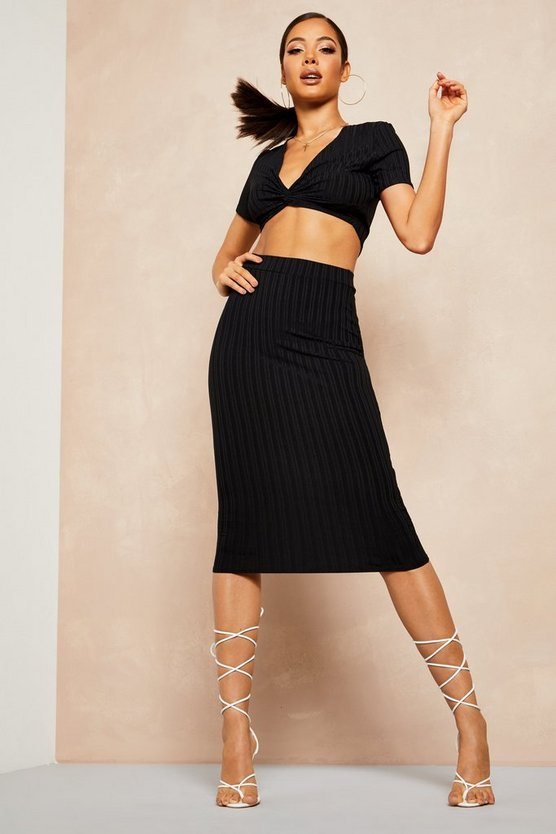 Black Recycled Rib Twist Detail Crop Midi Skirt Co-ord