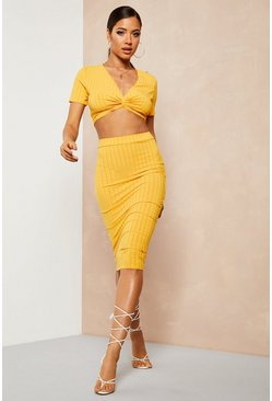 Womens Honey Recycled Rib Twist Detail Crop Midi Skirt Co-ord