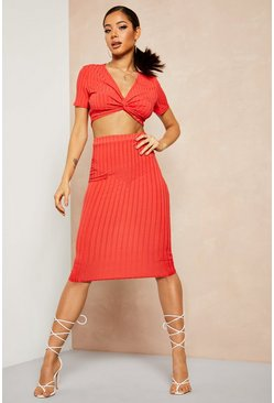 Red Recycled Rib Twist Detail Crop Midi Skirt Co-ord