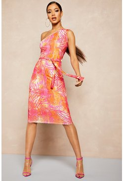 Womens Hot pink Recycled Slinky Tropical One Shoulder Midi Dress