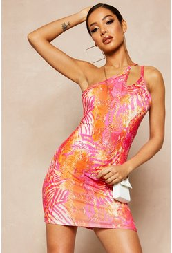 Womens Hot pink Recycled Slinky Tropical Double Strap Dress