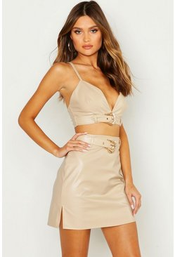 Womens Nude Buckle Detail Leather Look Bralet
