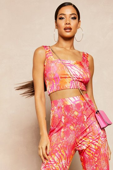 Womens Hot pink Recycled Slinky Tropical Square Neck Crop Top