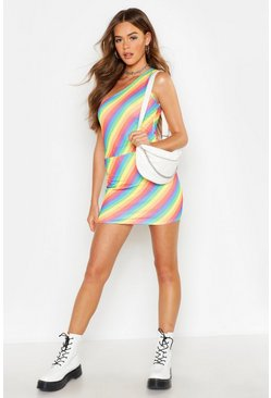 Womens Pink Rainbow Stripe Mini Skirt