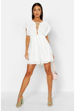 White Dobby Spot Mesh Lace Up Playsuit