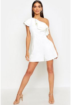 White One Shoulder Frill Playsuit