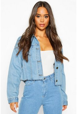 Womens Mid blue Cropped Denim Jacket