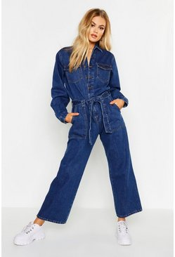 Womens Blue Denim Boilersuit