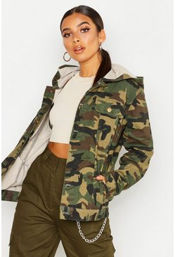 Womens Hooded Oversized Camo Denim Jacket