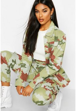 Womens Camo Oversized Denim Jacket