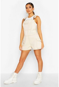 Womens Ecru Cargo Pocket Dungaree Shorts