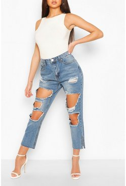 Light blue High Rise Distressed Vintage Wash Jean