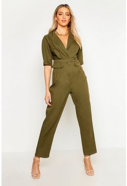 Womens Khaki Short Sleeve Utility Denim Boilersuit