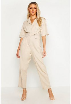 Womens Stone Short Sleeve Utility Denim Boilersuit