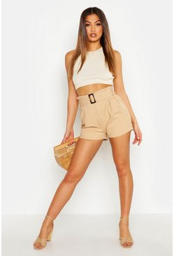 Womens Camel Horn Buckle Belted Denim Shorts