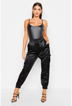 Womens Black Satin Pocket Detail Utility Trouser