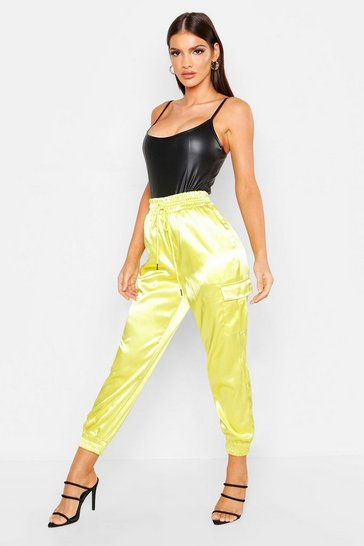Womens Lime Satin Pocket Detail Utility Trouser