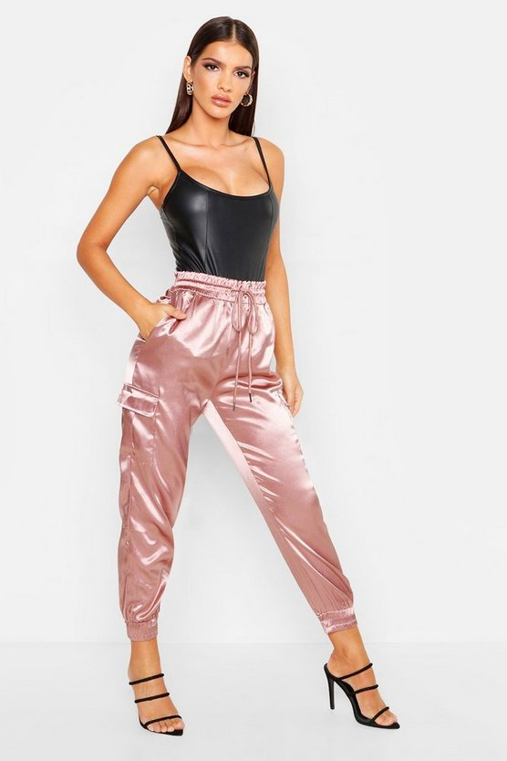 Rose Satin Pocket Detail Utility Pants