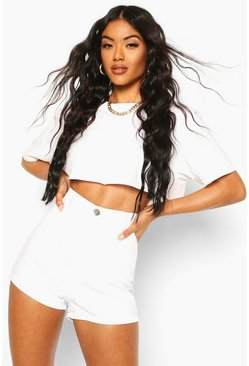 Womens White Disco Fit Denim Shorts