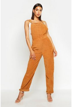 Womens Tan Cord Boyfriend Dungaree