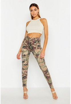Womens Green Camo Distressed Skinny Jeans