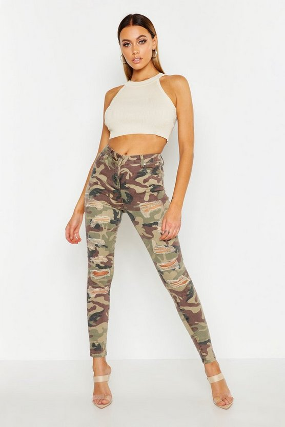 Skinny in Destroyed-Optik mit Camouflage-Print, Grün, Damen