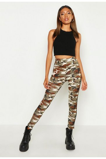 Womens Green Camo Side Stripe Leggings