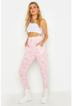 Womens Peach Ombre Tie Dye Jogger