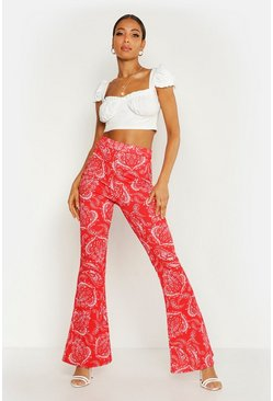 Womens Red Paisley Printed Flares