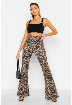 Womens Brown Leopard Print Flares