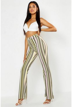 Womens Green Tonal Stripe Flares