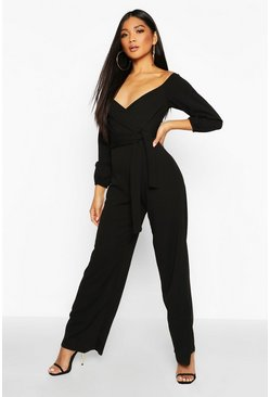 Womens Black Off The Shoulder Wide Leg Jumpsuit