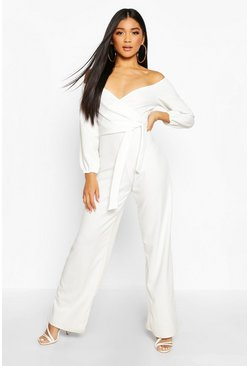 Ivory Off The Shoulder Wide Leg Jumpsuit