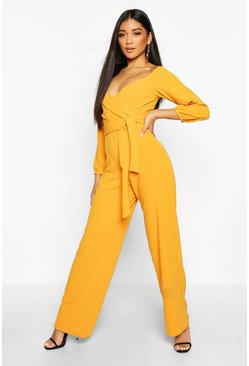 Mustard Off The Shoulder Wide Leg Jumpsuit