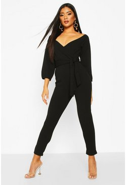 Womens Black Off The Shoulder Tapered Leg Jumpsuit
