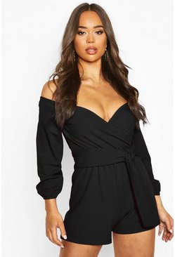 Womens Black Linen Look Off The Shoulder Playsuit