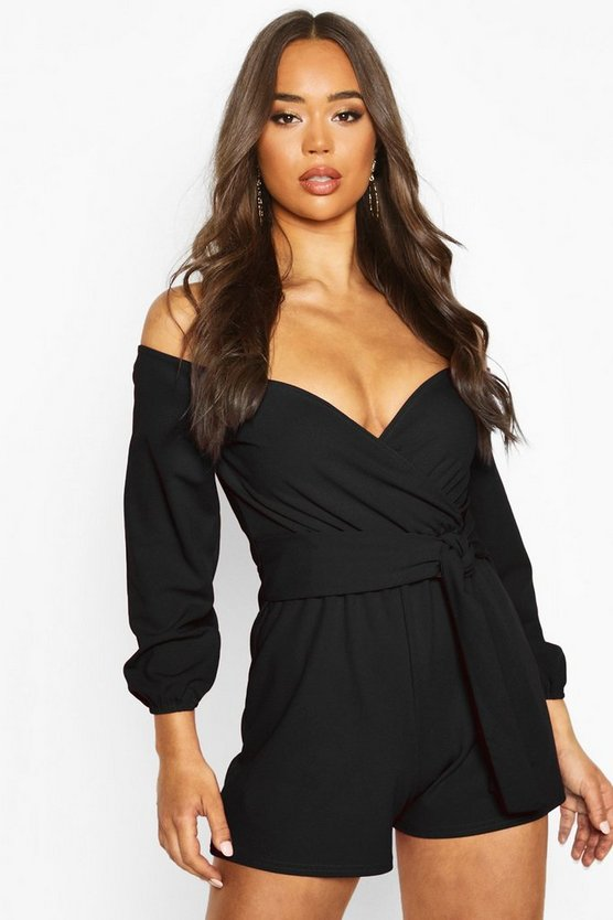 Womens Black Off The Shoulder Playsuit