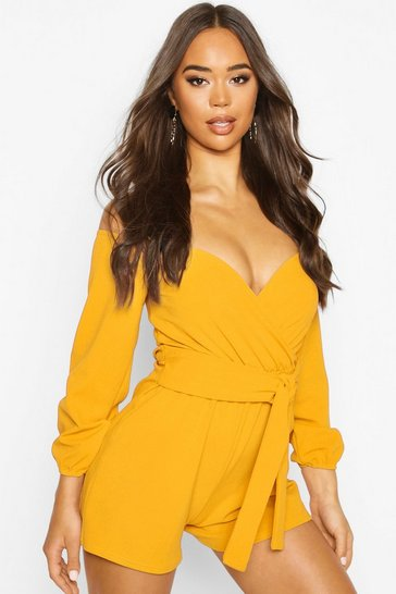 Womens Mustard Off The Shoulder Playsuit