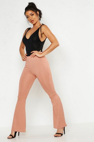 Womens Rose Ribbed Jersey Flares