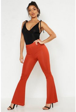 Womens Terracotta Ribbed Jersey Flares