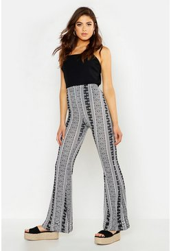 Womens Black Monochrome Stripe Jersey Flares
