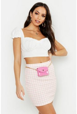 Womens Blush Gingham Check Mini Skirt